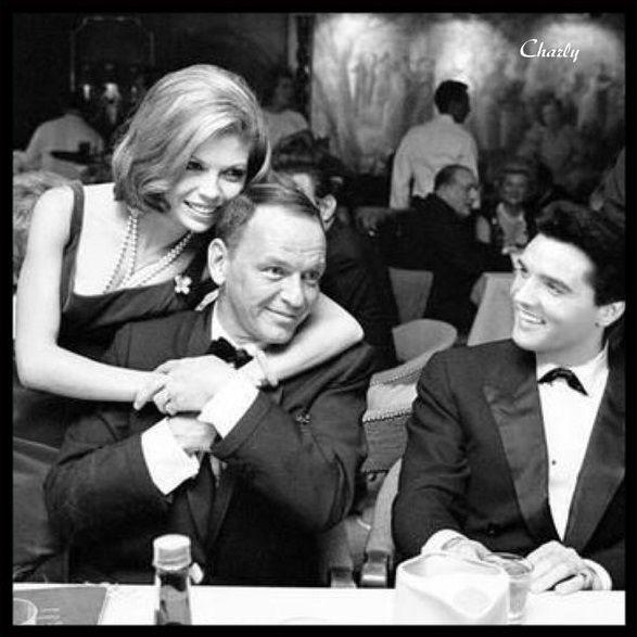 Nancy and Frank Sinatra with Elvis Presley.