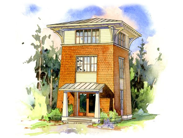The Alder Tower home design, by Perfect Little House Designs.  753 sq. ft. Enjoy dramatic views among the tree tops in your own tower. The Alder Tower accommodates different activities in each of it's three floors for a variety of experiences within the building.