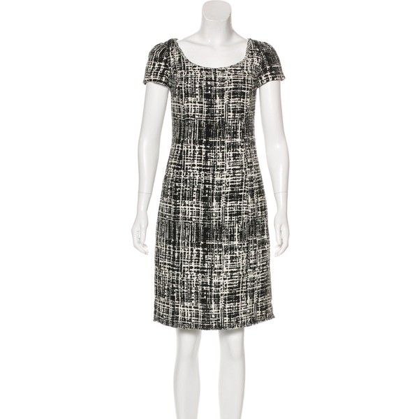 Pre-owned Prada Short Sleeve Tweed Dress ($225) ❤ liked on Polyvore featuring dresses, black, pre owned dresses, scoop neckline dress, tweed dress, prada and short sleeve dress