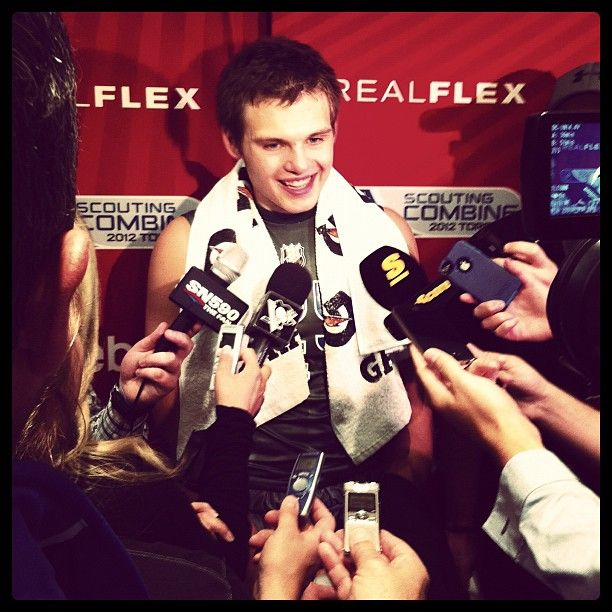 Alex Galchenyuk speaks to the media at the NHL Combine
