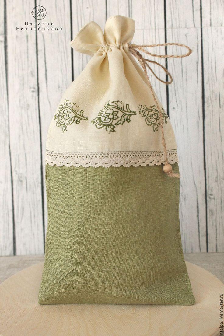 Купить Оливковый мешочек для трав из льна и хлопка. - оливковый, стиль кантри…