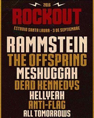 lineup final de #ROCKOUTFEST. #rammstein como principal Entradas a la venta en valor preventa desde el Lunes 16 de Mayo porPuntoTicket y sin recargo en Cartelera Cariola