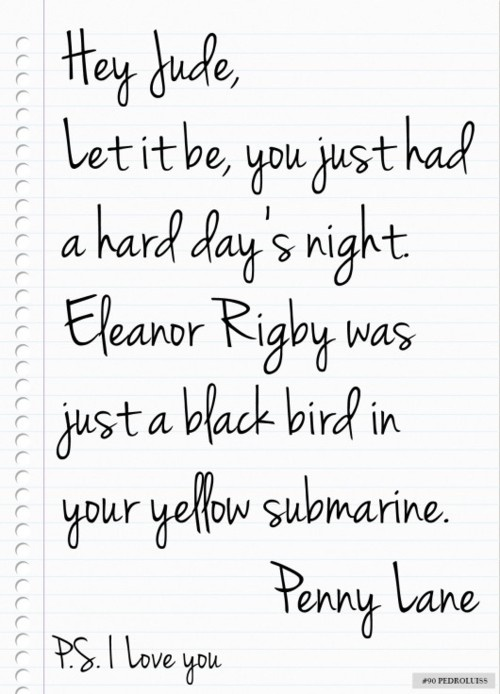 a short letter from Penny Lane to Jude.