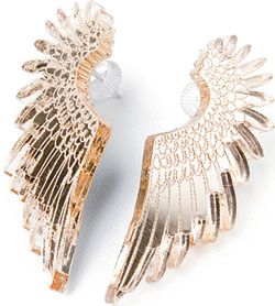 Gold Pegasus Wing Earrings from Tatty Devine - Beautiful in a word! These lovingly hand laser-cut wing earrings are made of acrylic with sterling silver posts from Tatty Devine. A true Tatty classic! $59