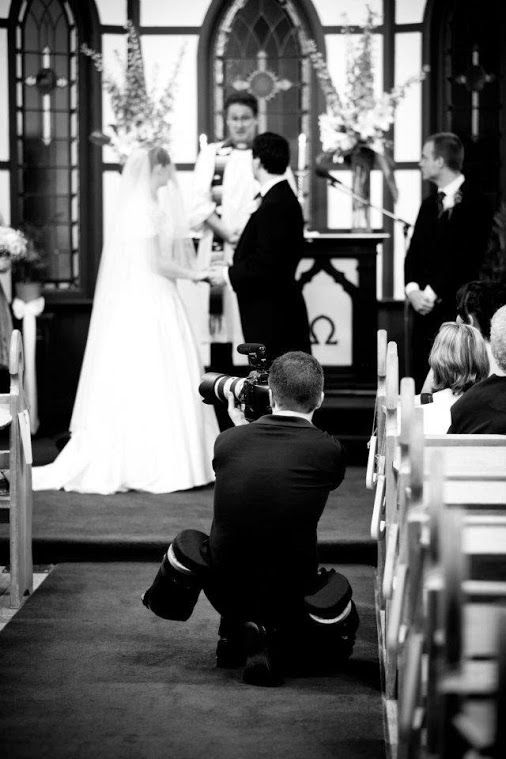 Filming a nighttime wedding in Kalbar, Queensland.  St Lutheran's Church.
