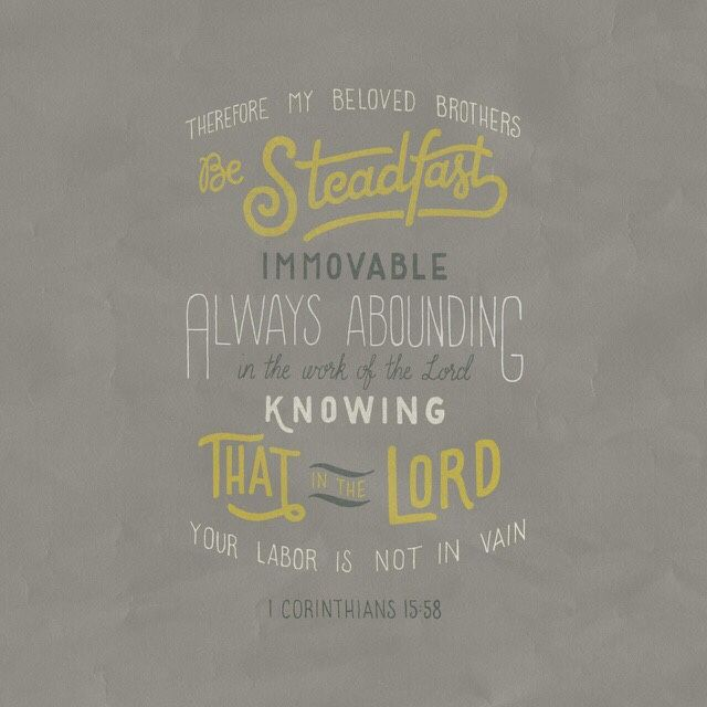 """...be steadfast, immovable, always abounding in the work of the Lord, knowing that your toil is not in vain in the Lord."" ‭‭1 Cor‬ ‭15:58‬"