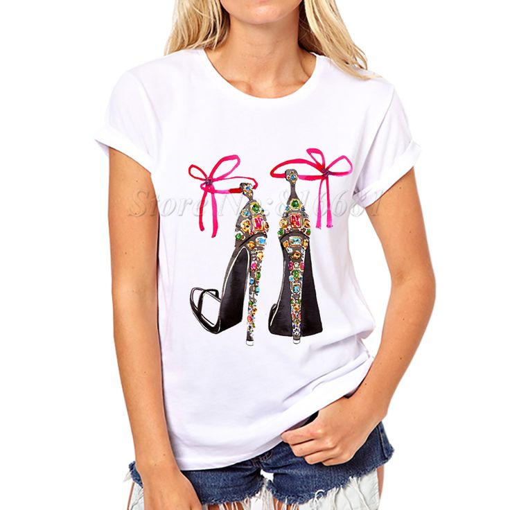 New Summer T shirt  high hell  Shoes printed Top Tees Women Shirts  vintage  Short Sleeve Casual Tops Women Clothing Retro Punk