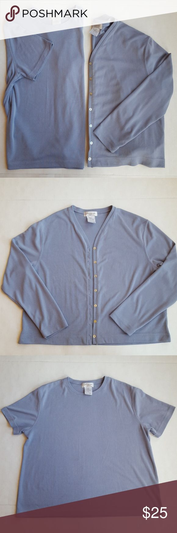 Jones of New York blue Short Sleeve Top & Jacket Petite Jones of New York Sport Short Sleeve Top with matching long sleeve jacket. Blue / Lilac in color. Great to wear and add the jacket for chilly nights. Used Condition. 65% Rayon, 35% Polyester. Approximate measurements in listing Jones New York Tops Blouses