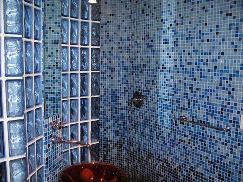 Faded blueTile Design, Tile Shower, Classic Bathroom, Blue Colors, Bathroom Mosaics, Tile Bathroom, Mosaic Tiles, Mosaics Tile, Modern Bathrooms