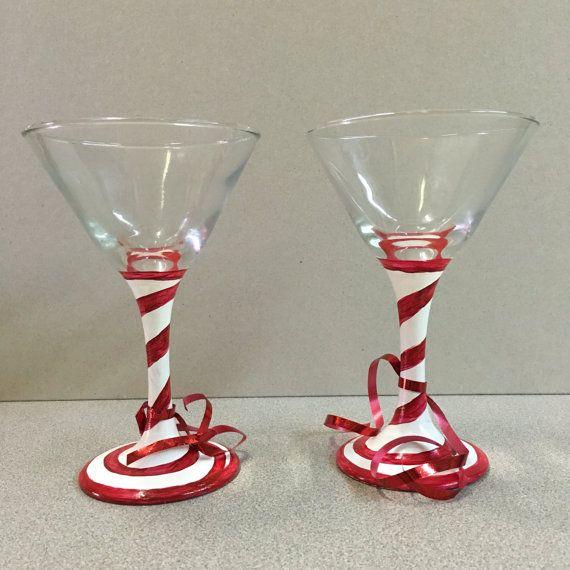 Candy Cane Martini Glasses