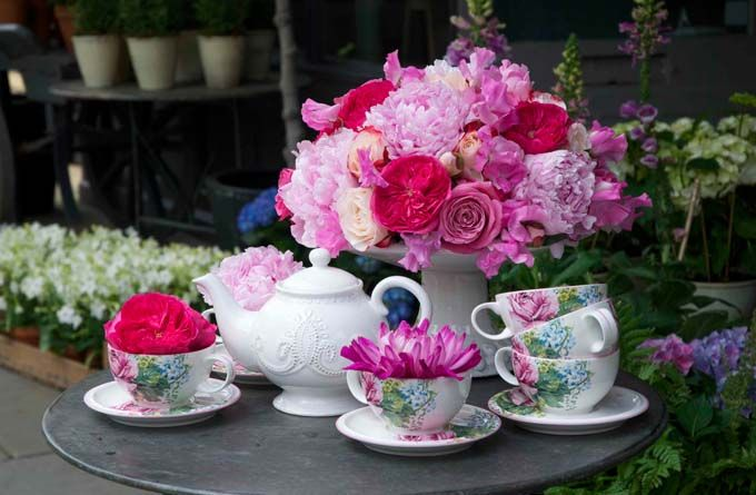 Wow, natural colors in a tea set, lovely!!! Laura Ashley Blog: WILD AT HEART GARDEN PARTY FLORAL MASTERCLASS