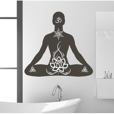 "Style and Apply Lotus Pose Wall Decal Color: Pastel Orange, Size: 29"" H x 31"" W"