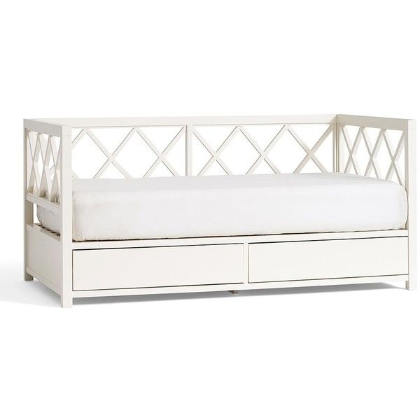 Clara Daybed ($1,299) ❤ liked on Polyvore featuring home, furniture, sofas, bed, white, pottery barn couches, pottery barn furniture, drawer furniture, pottery barn and white daybed