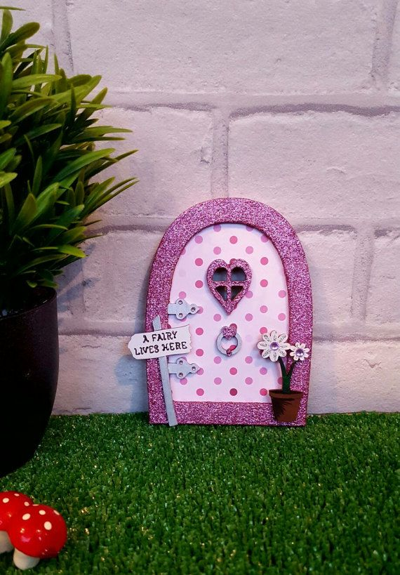 Spotted Fairy Door  Wooden Baby Pink Glitter Fairy Pixie
