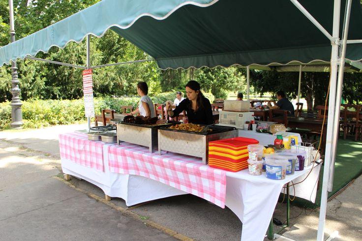 Food vendor: grilled meats, fried potato, beer, soft drinks