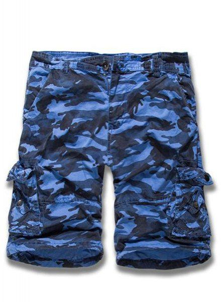 Multi-Pocket Camo Print Loose Fit Straight Leg Zipper Fly Cargo Shorts For Men #jewelry, #women, #men, #hats, #watches