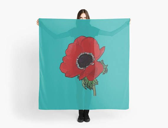 Scarf Red Poppy/ Blue scarf/wrap Foulard carré 140 cm