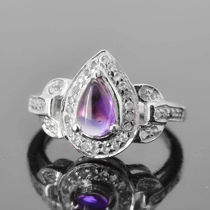 Amethyst Ring, 0.85 ct, Purple, Teardrop Cut, Birthstone Ring, February, Gemstone Ring, Sterling Silver Ring, Solitaire Ring, Statement Ring by JubileJewel on Etsy