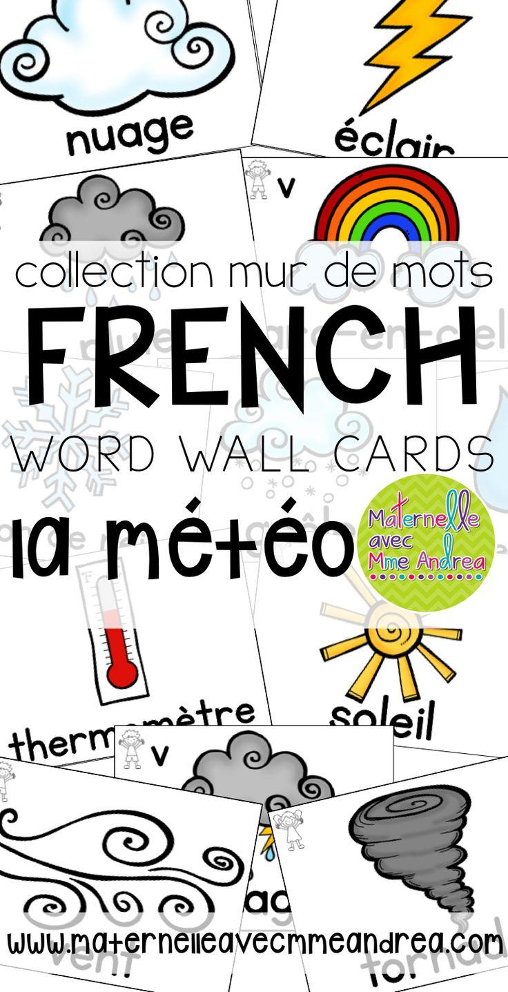 Collection mur de mots   FRENCH weather word wall cards   la météo   vocabulaire   maternelle