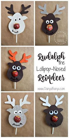 Una dolcissima renna! Cutest school class gift idea for Christmas: Rudolph the Lollipop-Nosed Reindeer! Adorable!