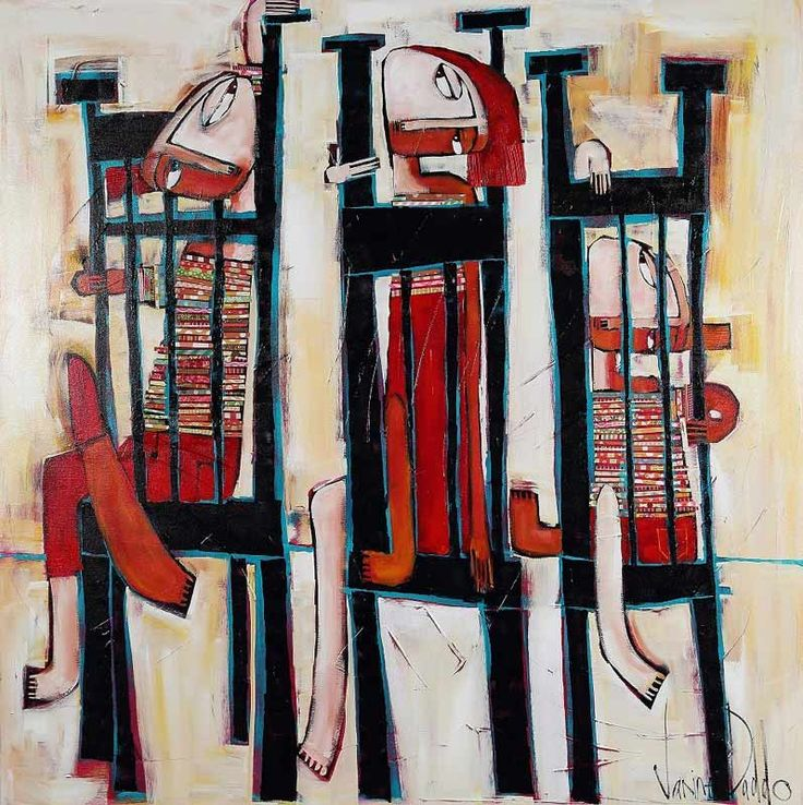 Janine Daddo - Tired of Waiting - figurative painting - kids on chairs waiting for dinner - red, black, cream
