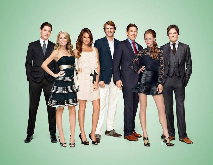 SOUTHERN CHARM -- Season:2 -- Pictured: (l-r) Craig Conover, Cameran Eubanks, Landon Clements, William Shepard Rose III, Thomas Ravenel Kathryn Dennis Calhoun, Whitney Sudler-Smith