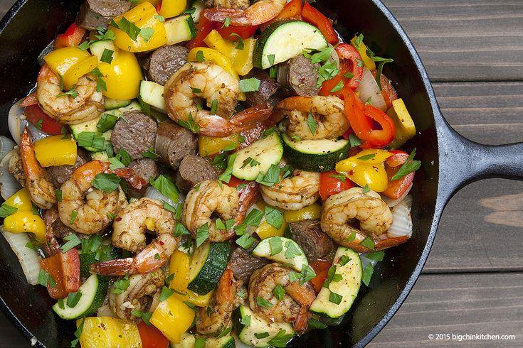 Shrimp and Sausage Stir Fry - Big Chin Kitchen - Free Paleo Recipes and More. Get the recipe at BigChinKitchen.com