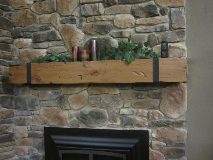 Vintage Fireplace Mantel Shelf Montana Wood Beam Timber ...