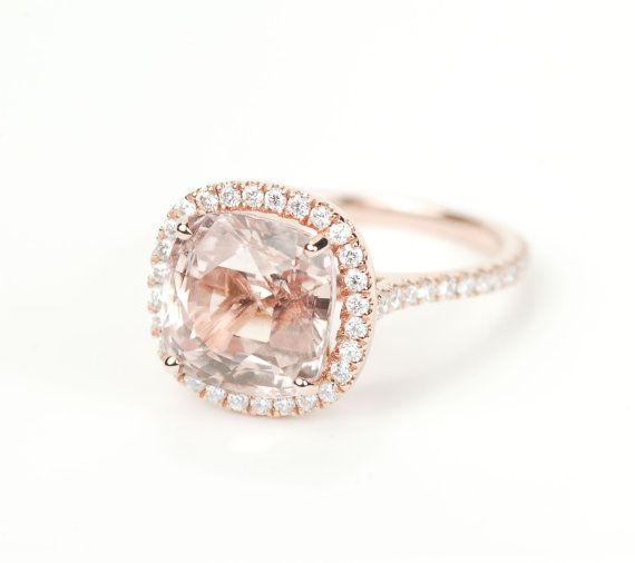 5.45CT peach pink champagne square cushion sapphire engagement ring