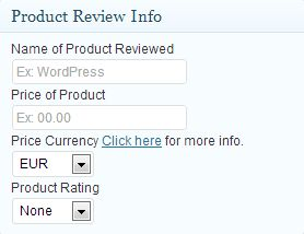 This is the product review information panel on the edit post page.