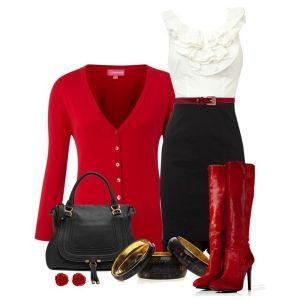 С чем носить красные сапоги: черная юбка, белая блузка, красные аксессуары