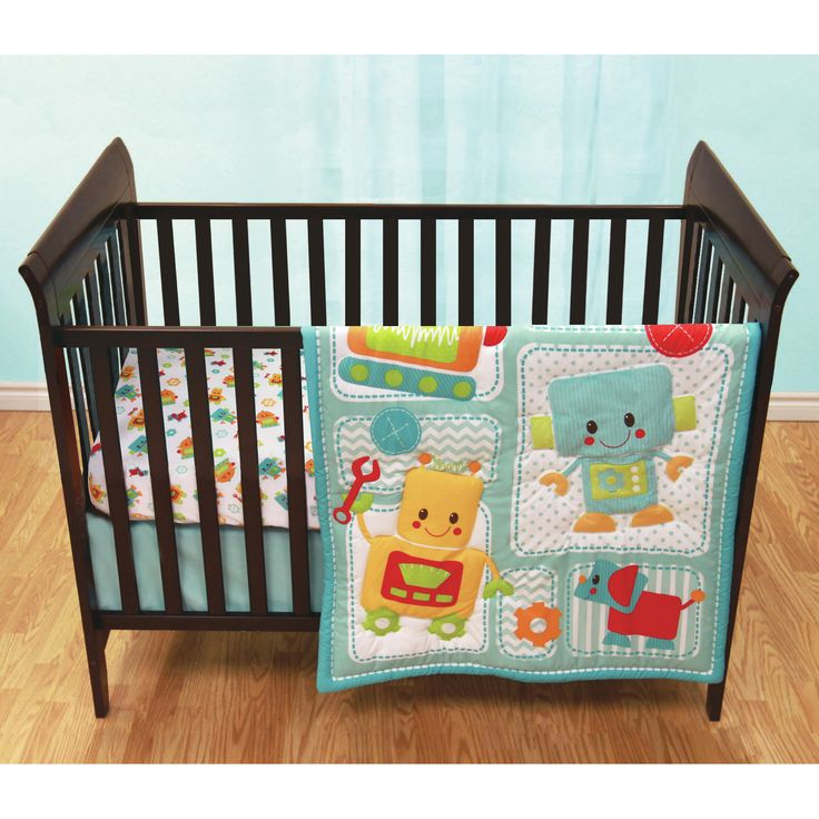 Baby's First by Nemcor Peek-A-Bot 3 Piece Crib Bedding Set