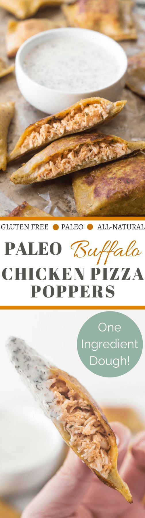 Paleo Buffalo Chicken Pizza Poppers - one ingredient dough! Plus they're served with a ridiculously good Paleo ranch dressing! A great Paleo appetizer recipe!