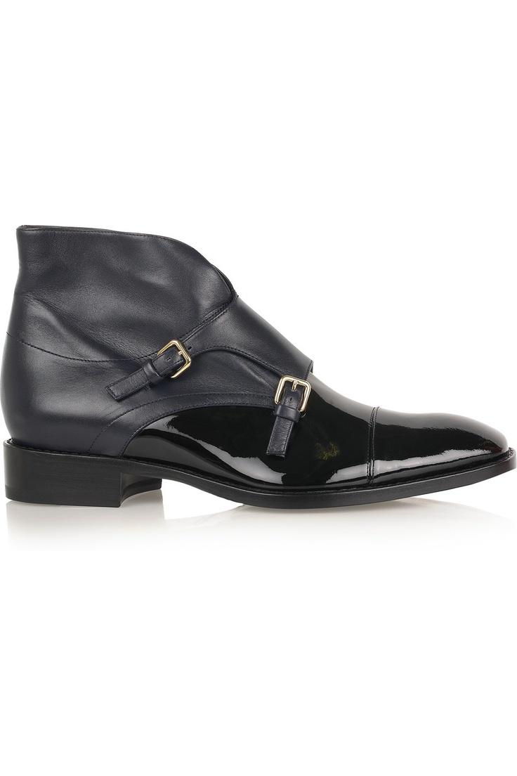 JIL SANDER Black Leather Monk-Strap Ankle Boots