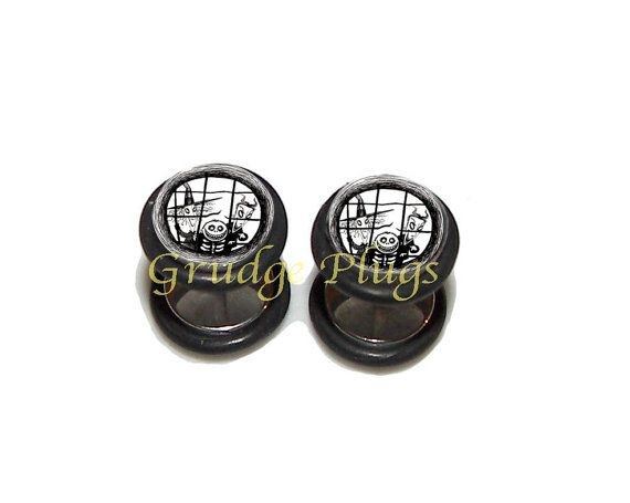 Lock Shock & Barrel Fake Plugs / Post Earrings  by GrudgePlugs