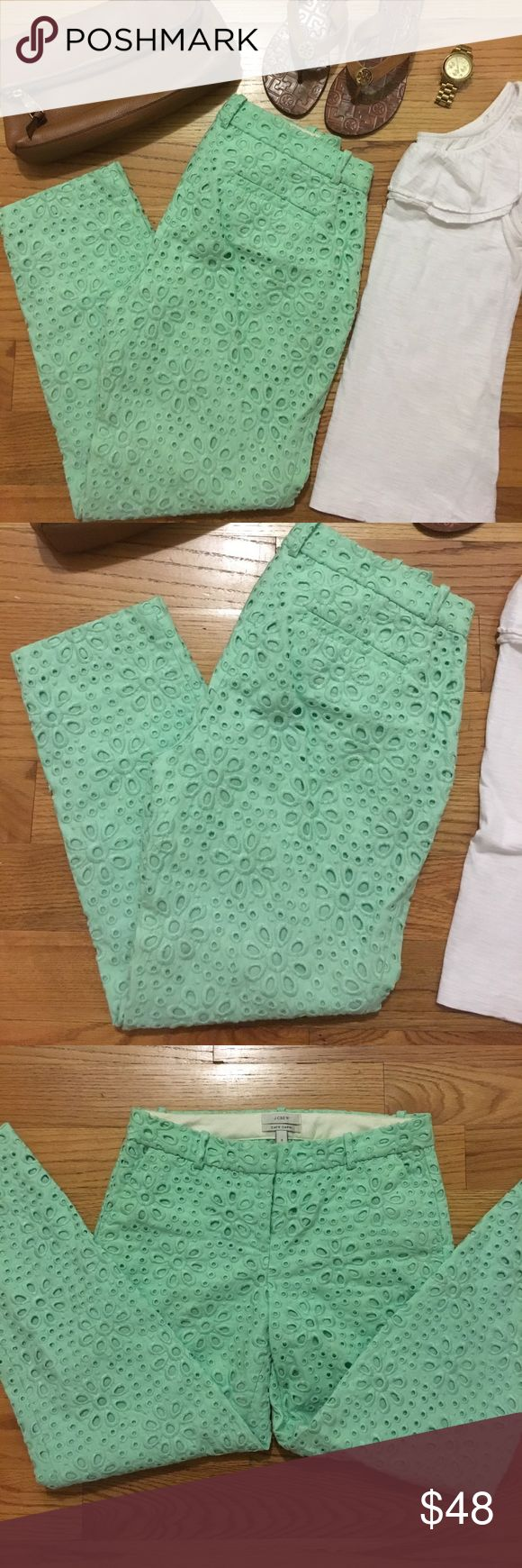 J Crew Cafe Capri Get summer BBQ ready with these adorable J Crew Cafe Capri pants in mint green! Beautiful cut out details make these pants fun, but still comfortable. Size 0. Inseam 25 inches. Only worn once! Pristine condition! Purchased from J Crew retail store, NOT an outlet. Hate to sell, but I need to downsize my closet. Much love, poshers! 😘 J. Crew Pants Ankle & Cropped