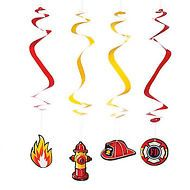 FIREFIGHTER PARTY Hanging Swirls Dangling Decorations pack of 4 Free Postage