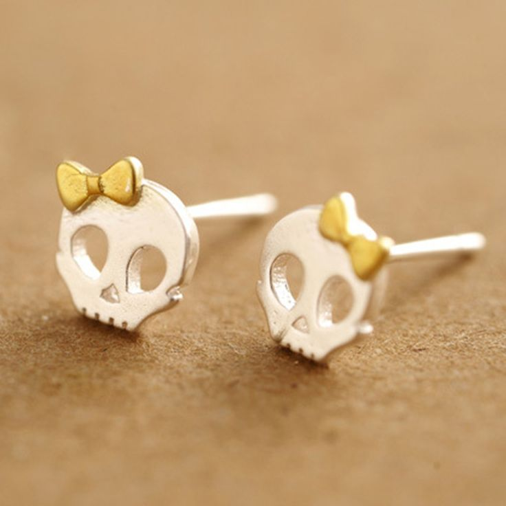 Latest design punk skull jewelry earring 925 sterling silver funny skull gold plated bow-knot girls personalized stud earring