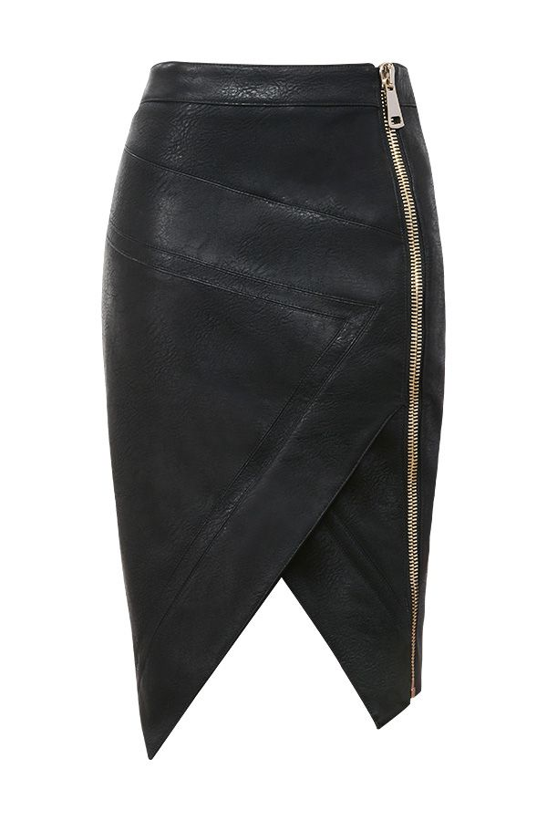 Clothing : Skirts : 'Floria' Black Vegan Leather Assymetric Wrap Skirt #Unique_Womens_Fashion