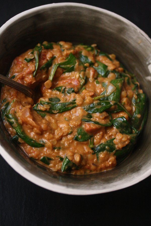 Red Lentil Recipe with Spinach, Coconut Milk, and Indian Spices