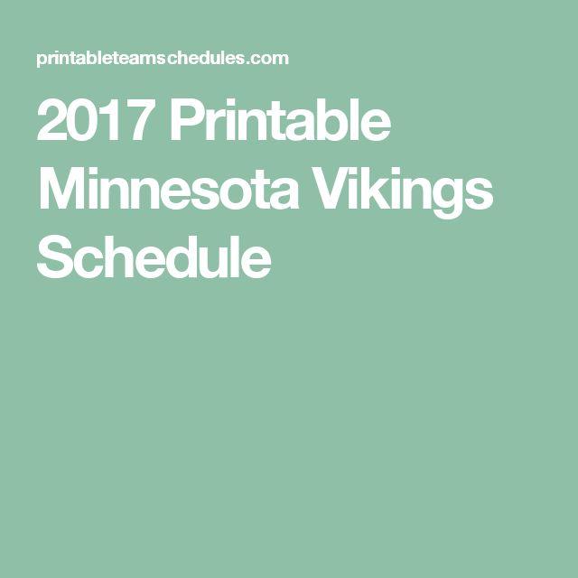 2017 Printable Minnesota Vikings Schedule