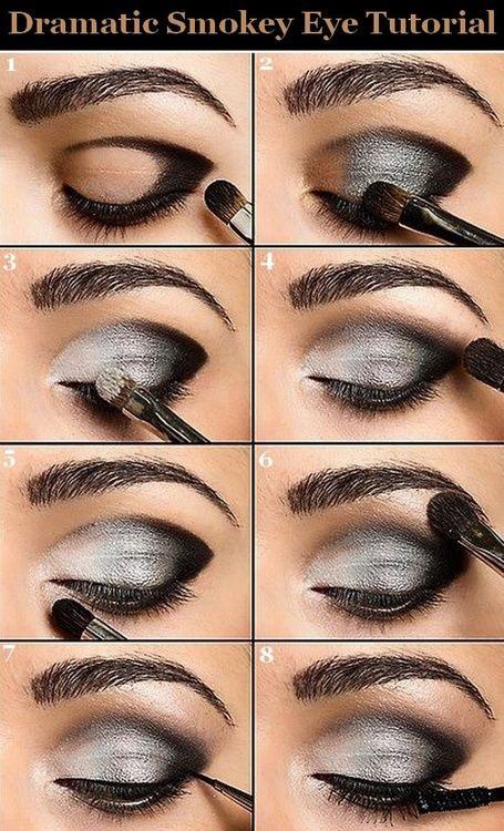 Smokey eye tutorial. I have trouble finding an eyeshadow that black though- L'Oreal has a two color metallic silver & black duo shadow that is really black...hope that helps whoever pinned this before me :)