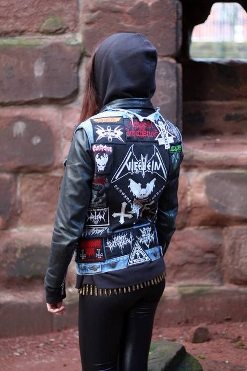patch jacket heavy metal headbanger