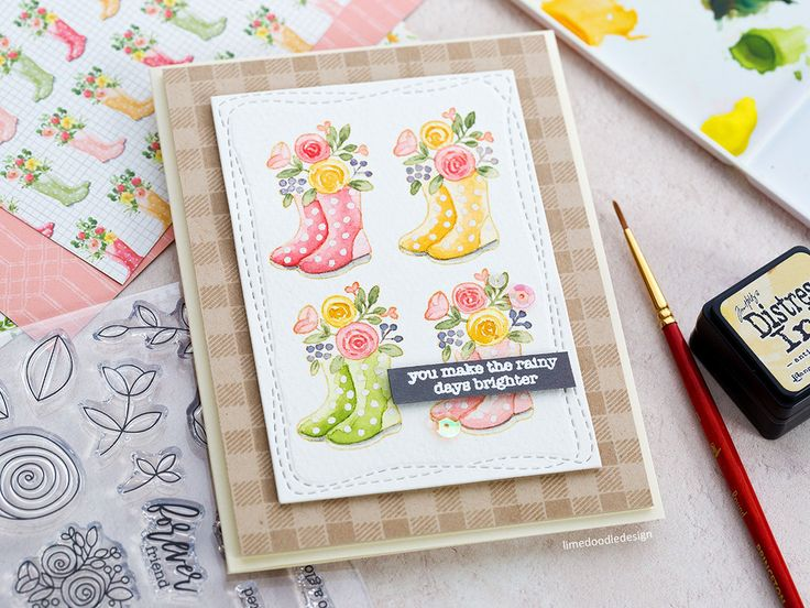 Watercoloured spring welly boot handmade card by Debby Hughes. Spring is in the air with the new Simon Says Stamp March Card Kit! Find out more here: http://limedoodledesign.com/2018/02/spring-welly-boots-simon-says-stamp-march-card-kit/