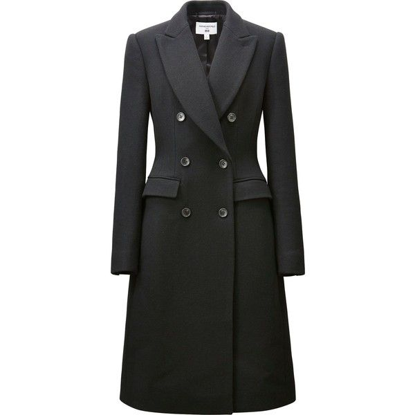 Carine Wool Blend Coat ($185) ❤ liked on Polyvore featuring outerwear, coats, black, pleated coat, tail coat, uniqlo coats, wool blend coat and wool blend double breasted coat