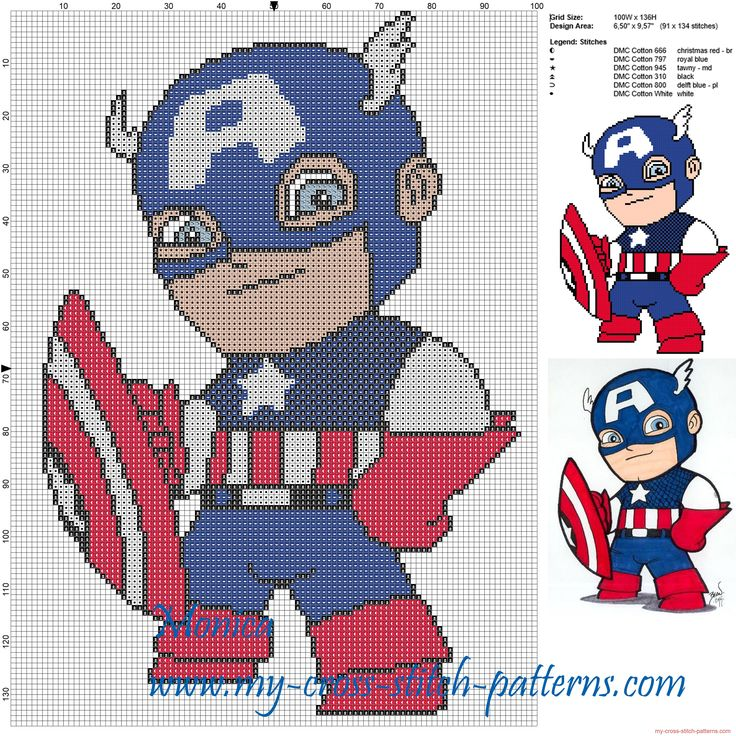 Captain America chibi cross stitch pattern                                                                                                                                                     Más