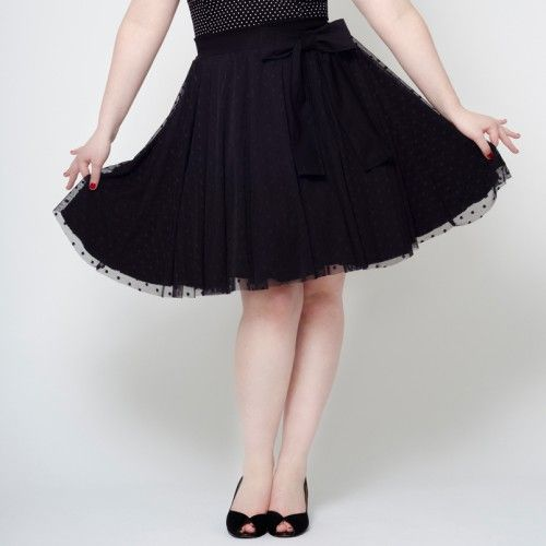 Full circle skirt sheer polka dot bow vintage retro 60's pin up Putré-Fashion