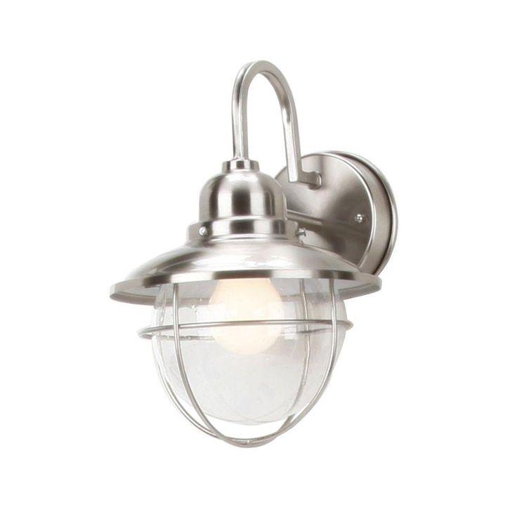 Hampton Bay 1 Light Outdoor Brushed Nickel Cottage Lantern BOA1691H BN The