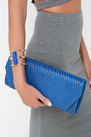 Chic Blue Clutch - Vegan Leather Clutch - Reptile Clutch - $25.00