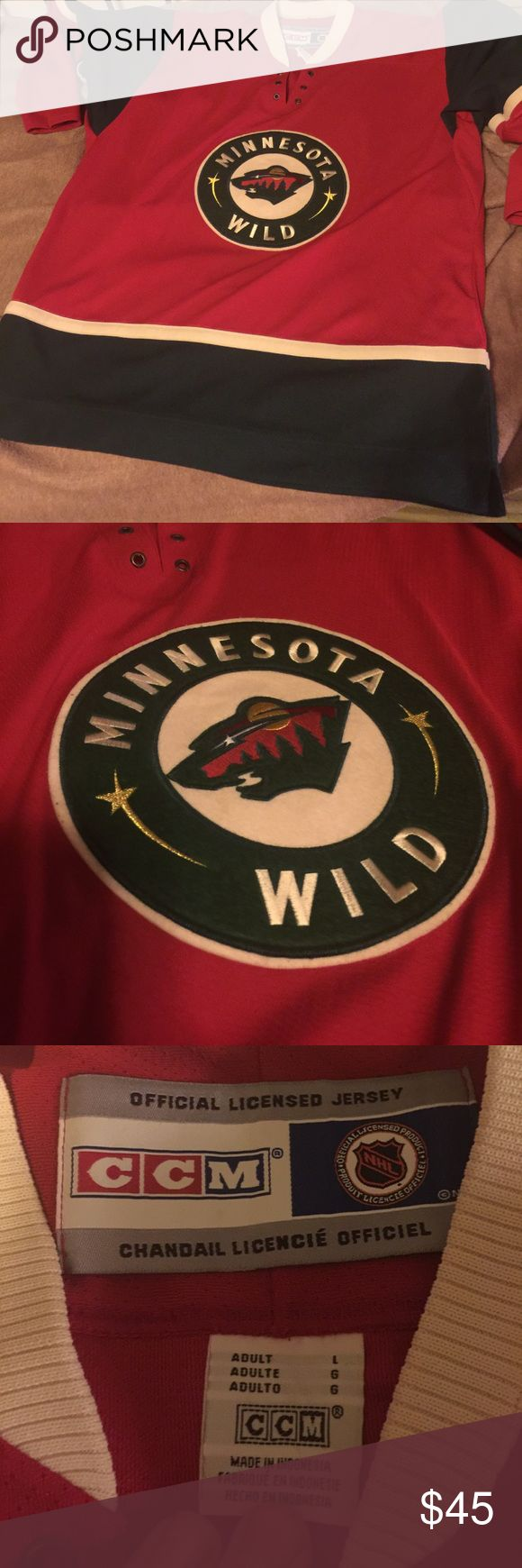 Minnesota Wild NHL Hockey Jersey Brand: CCM.  Size: Adult Large. Missing strings. Very good condition. CCM Other